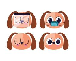 bundle of cute doggys stickers vector