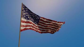 la bandera de Estados Unidos ondeando en el viento contra un cielo azul brillante. ilustración, representación 3d foto