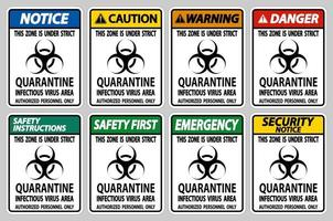 Quarantine Infectious Virus Area Sign Isolate On White Background,Vector Illustration EPS.10 vector