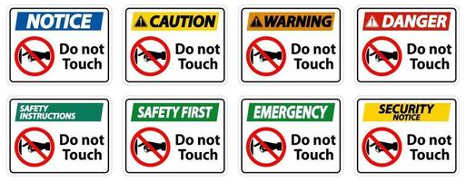 Notice do not touch sign label on transparent background vector