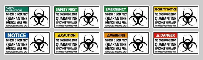 Quarantine Infectious Virus Area Sign Isolate On White Background vector