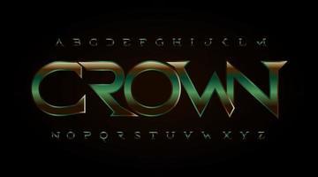 Old antique serif font. Royal shield style type with green bronze metal texture. Vintage classic letters, retro elegant alphabet for logo, monogram and decorative headline. Vector typographic design