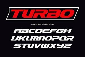 fuente turbo. letras en cursiva pesadas, tipo moderno para logotipo deportivo, título de carrera de velocidad, monograma dinámico, letras y tipografía. letras de estilo ancho en negrita, diseño tipográfico vectorial. vector