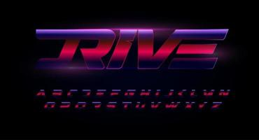 Drive alphabet. Red and blue letters with glossy gradient effect . Speed, action and dynamic font for automotive, sport and gym logo or monogram, race typographic. Vector symbol design