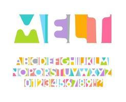 conjunto de letras y números coloridos. alfabeto latino vectorial coloreado. fuente de color del arco iris. Aplique de papel de color abc, monograma de espacio negativo y plantilla de póster. diseño tipográfico vector