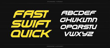 Fast swift quick alphabet. Sport font. Bold speed italic type for energy logo, automotive headline, endurance monogram, lettering and typography of power. Expanded letters, vector typographic design