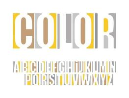 Logo font. Color vector typography. Headline alphabet. Original negative space type. Modern yellow letters designs for typographic posters, creative logo and identities, event and festival headlines