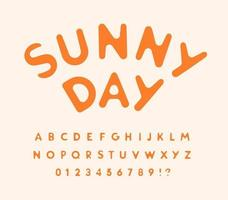 Sunny letters and numbers set. Melted from hot sun. Rounded funny font for events, promotions, logos, banner, candy monogram and poster. Vector typography design