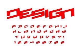 Alfabeto de estilo geométrico en negrita para logotipo, pancarta y póster modernos de carreras de autos fuente roja, letras en cursiva pesadas, números y signos. impresionante diseño de tipografía. tipografía vectorial. vector