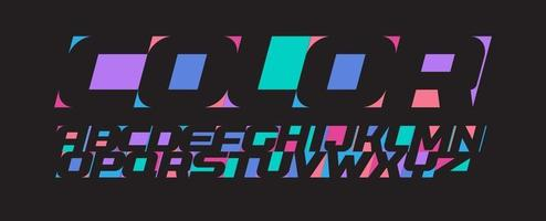 letras de colores, alfabeto moderno feliz, fuente para colorear alegría, letras de espacio negativo, negrita y cursiva vectoriales crean un diseño de tipografía artística sobre fondo negro. vector