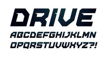 alfabeto de estilo de conducción. fuente en cursiva negrita, tipo minimalista para logotipo dinámico moderno, título deportivo, carteles de gimnasia y gráficos de juegos de computadora. letras de estilo minimalista, diseño de tipografía vectorial vector