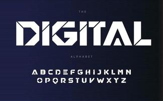 Digital urban alphabet, bold Futurism style letters. Geometric font with cutting line inside letters. Type for modern futuristic logo, headline, monogram and typography. Vector typographic design