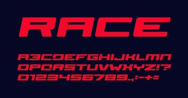 Bold extended geometric style alphabet for auto race modern logo, banner and poster. Red font, heavy italic letters, numbers and signs. Awesome typography design. Vector typeset.