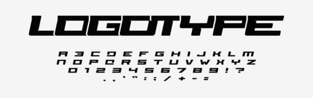 Alphabet for logos. Wide letters, numbers and punctuation marks. Italic font, minimal design for modern sport logo, speed race and car title. Extended style, vector typographic design