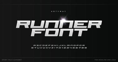 Runner letters with blade steel texture. Sport style alphabet for modern speed logo, dynamic poster headline, action typographic. Vector typography design on black background.