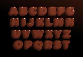 Conjunto de letras de chocolate 3d. alfabeto de estilo negrita pesado marrón. fuente de caramelo dulce para eventos, promociones, logotipos, pancartas, monogramas y carteles. diseño de tipografía vectorial. vector