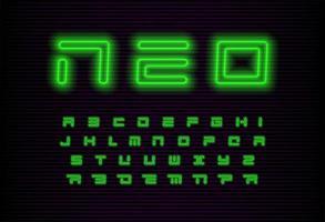 conjunto de letras neo geométricas. fuente futurista verde. alfabeto latino de vector de estilo moderno de neón sobre fondo negro. fuente para evento cyber monday, promoción, logotipo, banner, monograma y póster. diseño tipográfico