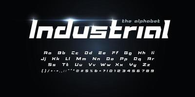 Awesome Futurism alphabet. Industrial geometric font, techno type for modern futuristic logo, headline, monogram, auto race lettering and typography. Speed italic letters, vector typographic design