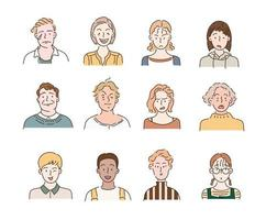 People of different races and styles with different facial expressions. hand drawn style vector design illustrations.