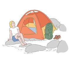 A woman is camping in a tent in the valley. hand drawn style vector design illustrations.