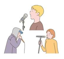 People are singing with microphones. hand drawn style vector design illustrations.
