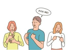 People are introducing themselves by pointing their fingers. hand drawn style vector design illustrations.
