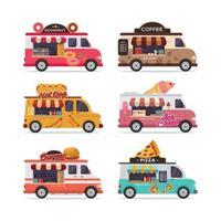 Set of isolated street food trucks vector illustration