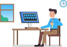 Businessman working at home and meeting using video conference.Flat man working from home.Work from Home WFH concept.Vector illustration vector