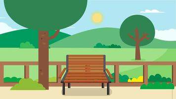 Public park with bench and nature landscape background.Vector illustration.Flat Green park cartoon.Garden in summer vector