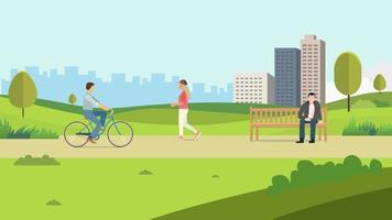 People in public park with town background.Vector illustration.Nature landscsape with people recreation. vector