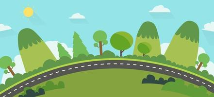 Beautiful nature landscape with road background.Green Hills with street and blue sky .Earth view public park landscape background vector