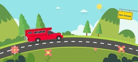 Beautiful nature landscape with bon voyage sign and hills background.Red car on road with Green Hills and blue sky.Vintage car thailand on street with natural scene.Vector illustration vector