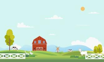 Farm landscape with animal.Summer farm landscape with trees, clouds , mountains and sun. Country farm with beautiful landscape.Modern flat nature farm with windmill and cow.Vector illustration vector