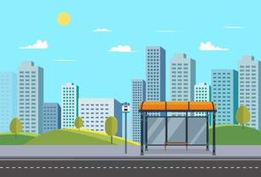 Bus stop on main street urban.Public park with city and bus stop and nature landscape.Bus stop sign in downtown.Vector illustration vector