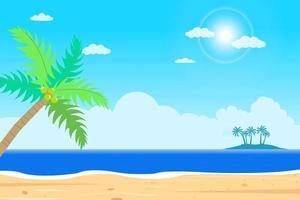 Tropical Beach island vector .Islands shore with palm tree.Beautiful seascape  with sunshine.Summer season holiday.Beautiful paradise island with beach and sea