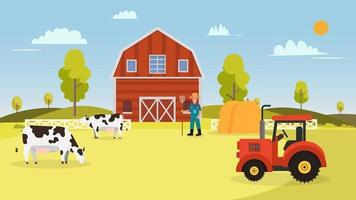 Farm with cows ,tractor, barn , farmer and hays.Landscape with farm vector illustration.Nature farm in summer