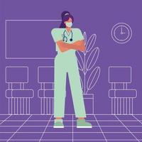 Cirujano profesional femenino con máscara médica vector