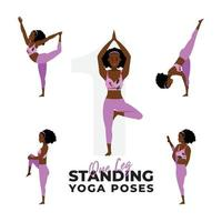 set of one leg standing yoga poses, young girl practicing standing yoga poses vector