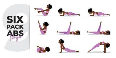 Black lady practicing yoga asana for six pack abs, set of yoga asana for six pack abs vector