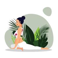 young lady practicing seated yoga asana, young woman in white gym outfit practicing spin twist yoga asana vector