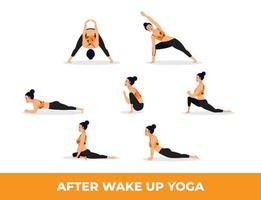conjunto de asanas de yoga después de despertar yoga, mujer practicando asanas de yoga vector