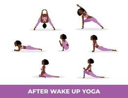 mujer negra practicando yoga asana después de despertar, conjunto de yoga asana después de despertar vector