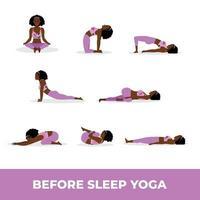 Young black lady practicing yoga before sleep, Set of yoga asana before sleep vector
