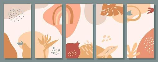 Set of abstract social media templates with shapes, leaves, dots, flowers, fruits. Creative stories pack in pastel color. Vector flat illustration. Modern design of phone backgrounds.