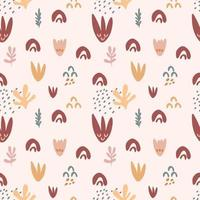 Seamless pattern with branches  of  leaves, shapes, flowers isolated on beige background. Silhouette vector illustration. Design for  textile, wrapping, backdrop, banner