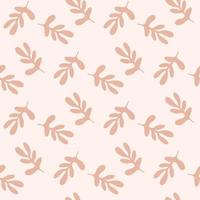 Seamless pattern with branches  of  abstract leaves isolated on beige background. Silhouette vector illustration. Design for  textile, wrapping, backdrop, banner