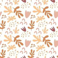 Seamless pattern with branches  of  leaves, shapes, flowers isolated on white background. Silhouette vector illustration. Design for  textile, wrapping, backdrop, banner