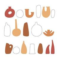 Abstract set vases in pastel terracotta natural colors. Hand drawn vases. Collection of contemporary art. Abstract geometrical elements, shapes for print, social media, posters, postcards, flyer vector