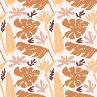 Seamless pattern with branches  of tropical plants monstera leaves, shapes, rainbows isolated on beige background. Silhouette vector illustration. Design for  textile, wrapping, backdrop, banner