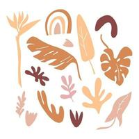 Set with branches  of  leaves, shapes, flowers isolated on white background. Silhouette vector illustration. Design for  pattern, banner, card, logo